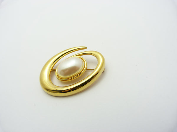 Vintage Gold Tone & Faux Pearl Monet Spiral Brooch