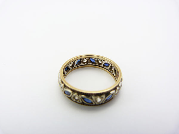 Vintage 9CT Gold & Silver White and Blue Spinel Eternity Ring