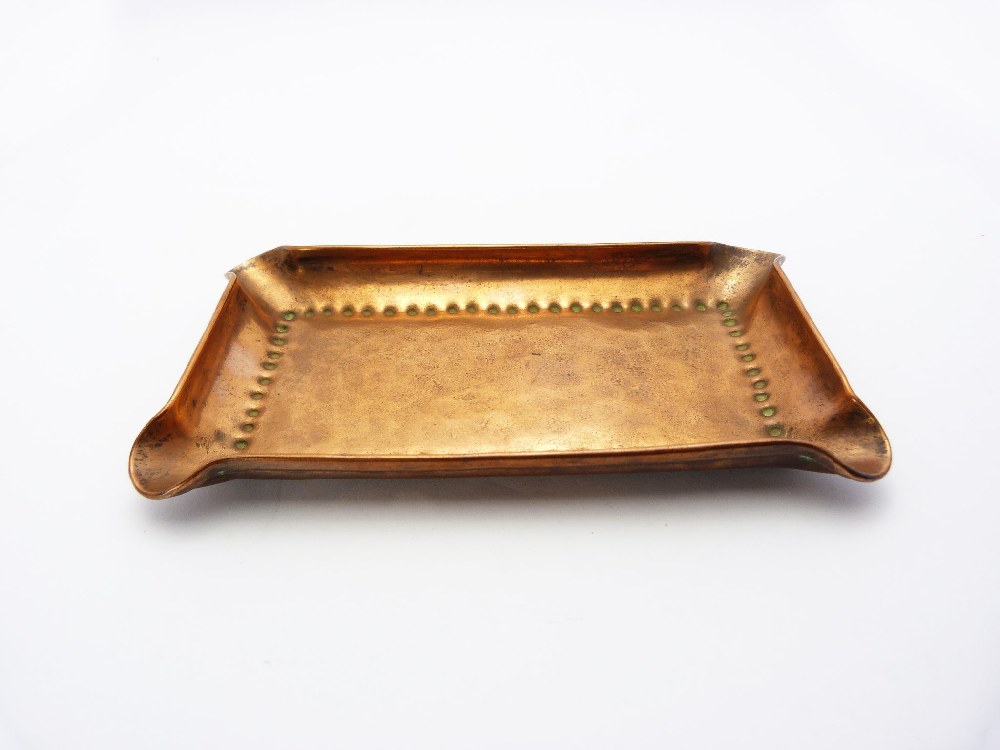Arts and Crafts Repousse Copper Ashtray - Hand Beaten English Made Olbury