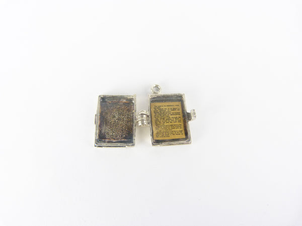 Vintage Silver Holy Bible Opening Charm -The Lord Is My Shepherd Psalm