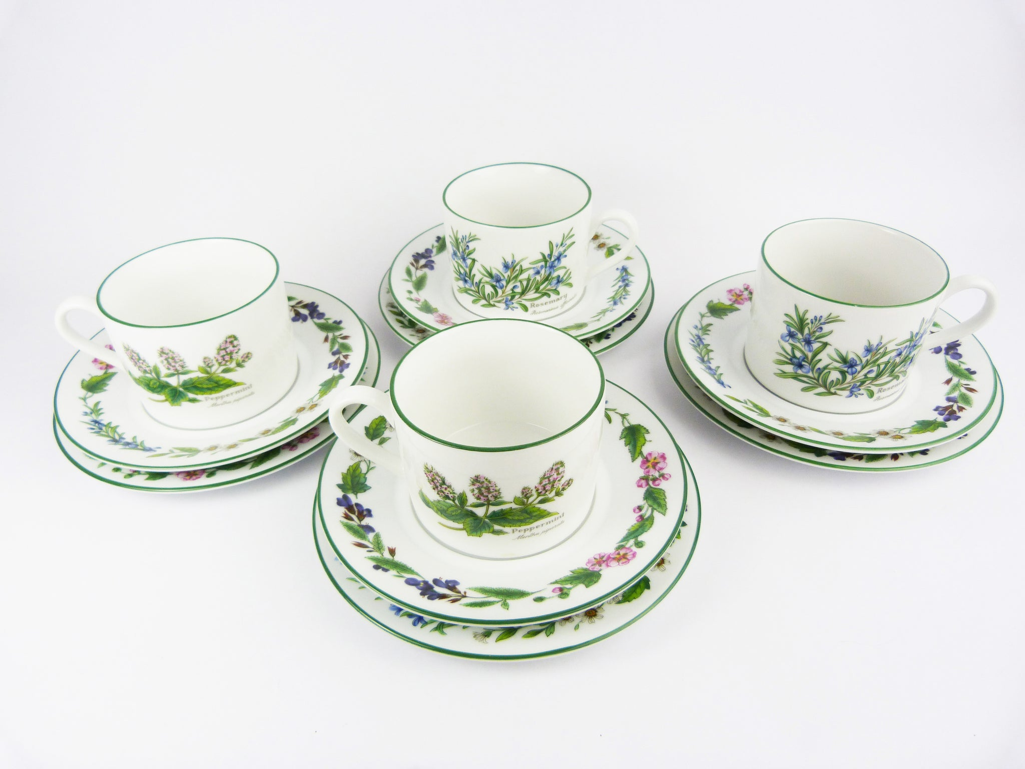 Royal Worcester Herbs Tea Cups Set -Vintage Worcester Herb Rosemary & Peppermint Tea Set of 4