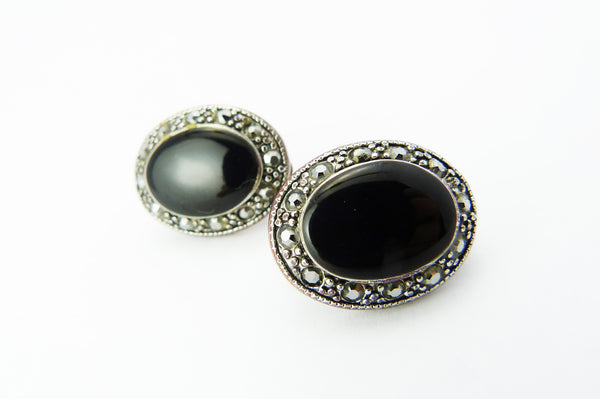 Silver Marcasite & Black Clip On Earrings