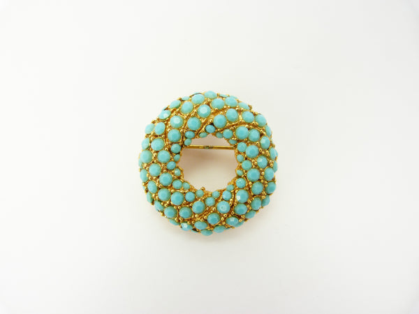 VINTAGE GOLD TONE & FAUX TURQUOISE BROOCH