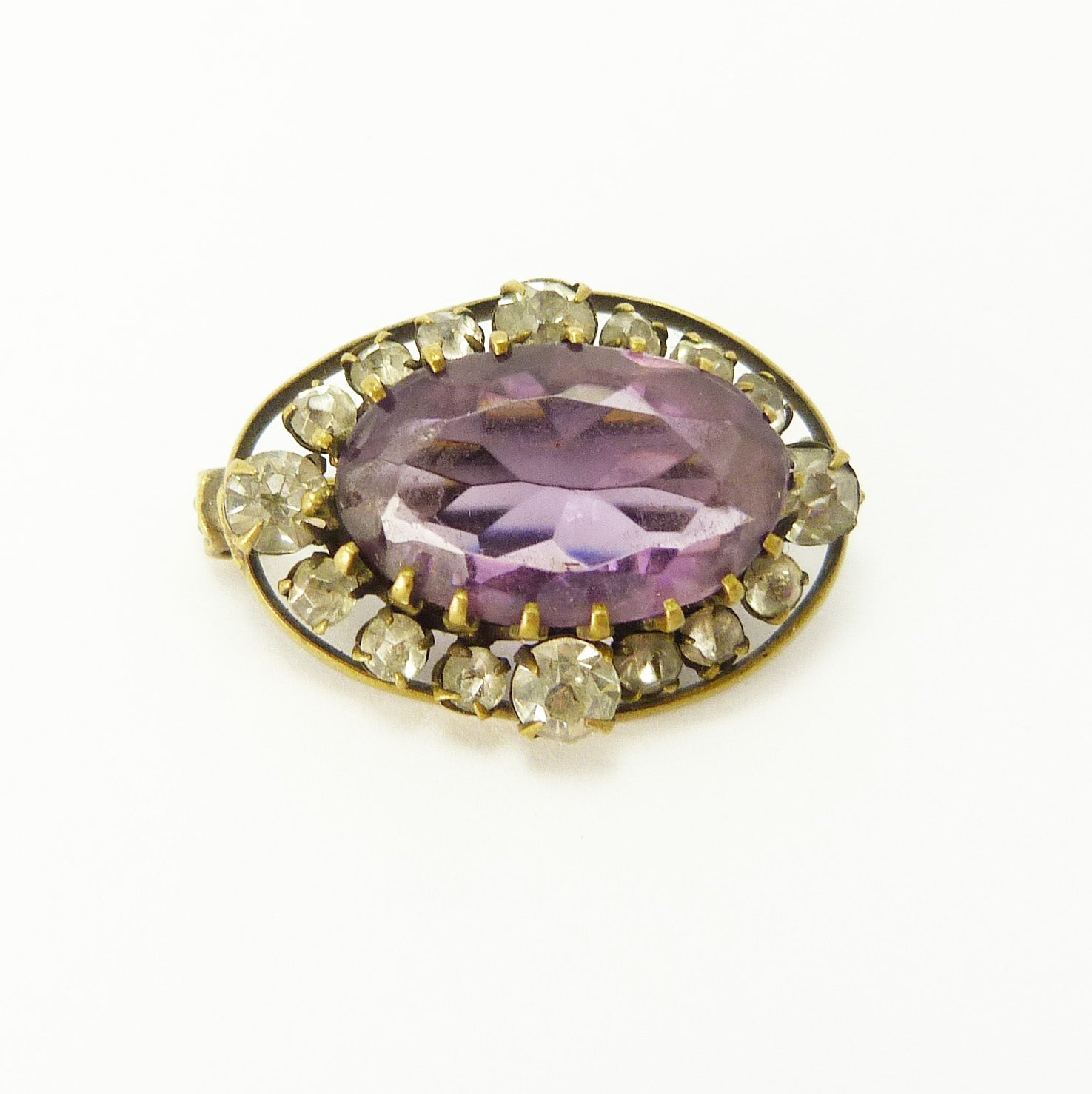 Victorian Amethyst & Diamond Paste Brooch