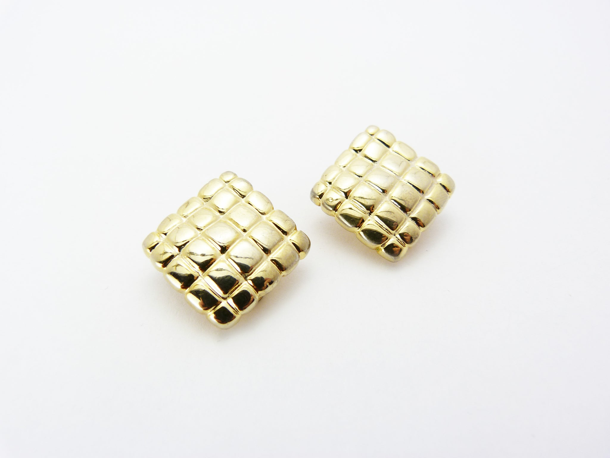 1980s Gold Tone Square/Diamond Clip On Earrings