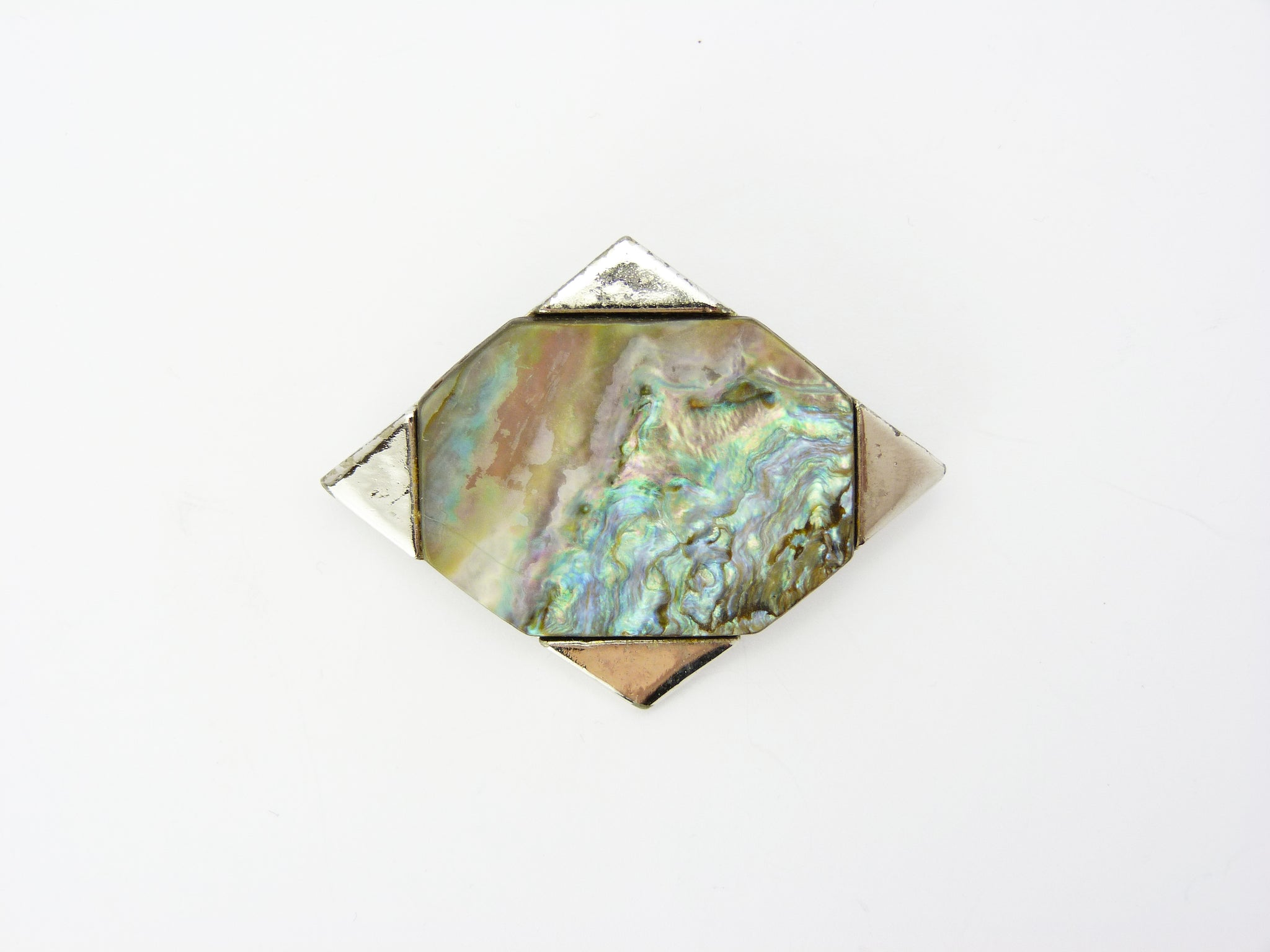 Vintage Abalone Shell Brooch Signed Exquisite