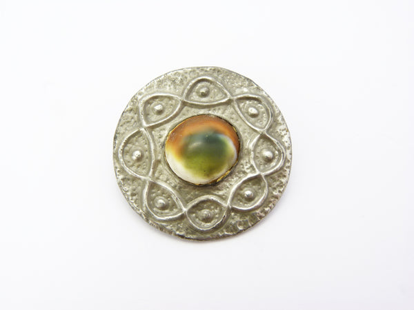 Vintage Hand Beaten Pewter Multi Coloured Glass Cabochon Brooch