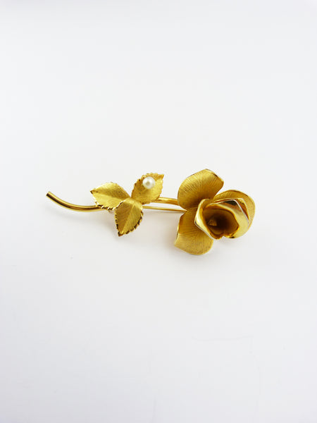 Vintage Rolled Gold Rose & Faux Pearl Rose Brooch Signed ECCO