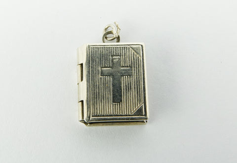 VINTAGE SILVER HOLY BIBLE CHARM
