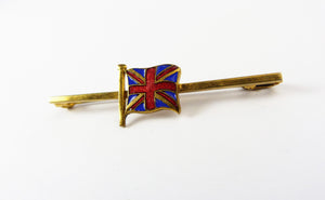 Vintage Enamel Patriotic Great Britain Union Jack Flag Bar Brooch