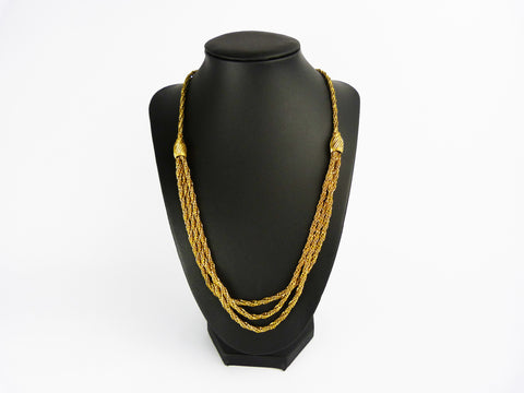 Vintage 1980s Gold Tone Rope Chain Multi strand Necklace