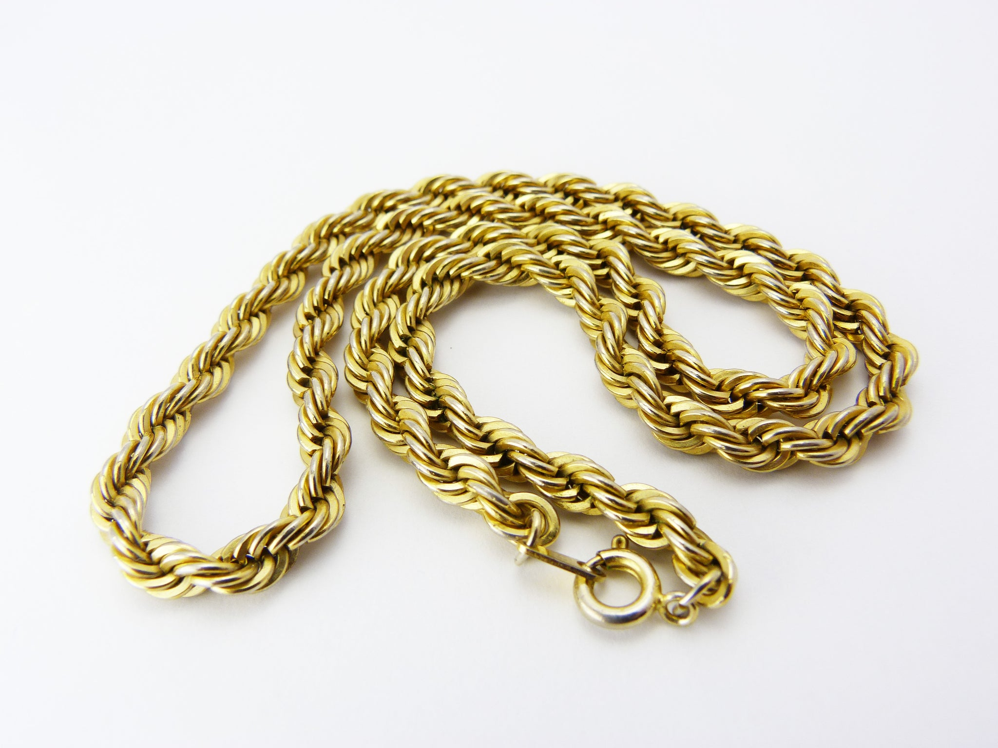 Vintage 1980s Gold Tone Rope Chain Necklace