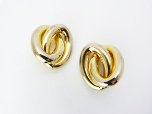 Vintage 1980's Statement Gold Tone Hoop Clip On Earrings