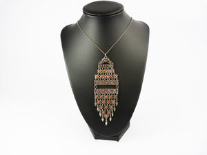 Vintage Art Deco Egyptian Revival Fringe Tassel Bib Necklace