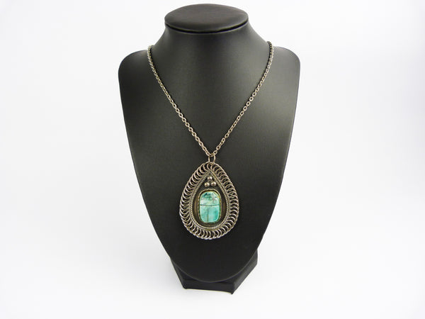 Art Deco Egyptian Revival Turquoise Blue Scarab Beetle Necklace Pendant