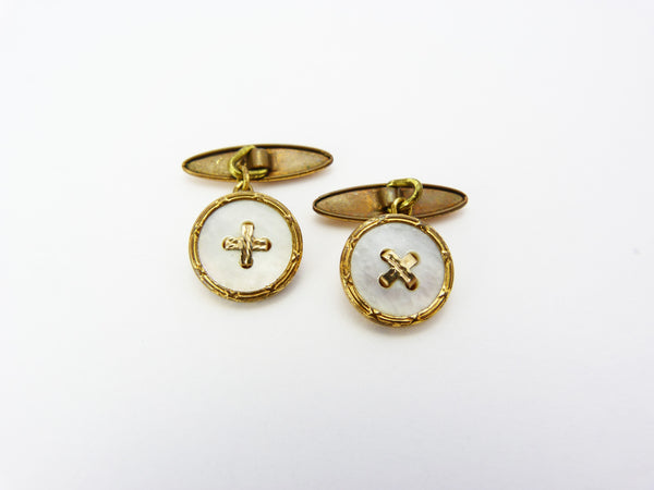 Vintage Art Deco GILT & Mother of Pearl Button Cufflinks
