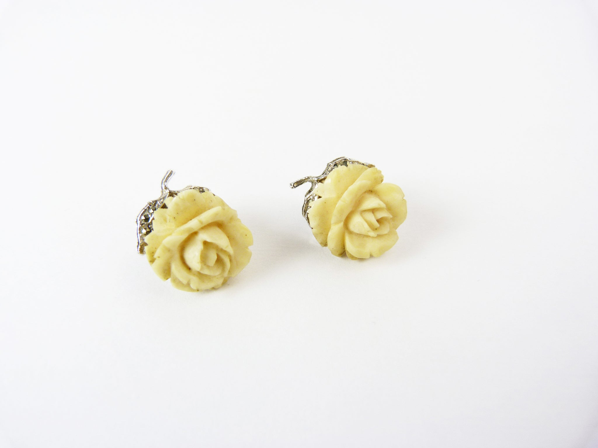 Vintage Art Deco Hand Carved Bone Rose & Marcasite Clip On Earrings