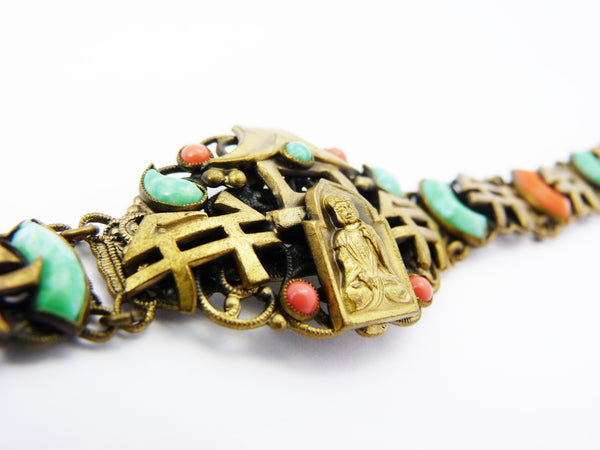 Vintage Art Deco Max Neiger Czech Bracelet- Brass & Peking Glass Buddha Neiger Bracelet - Czech Neiger Brothers Jewellery