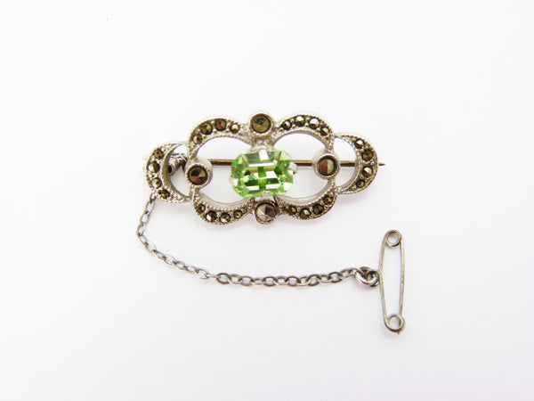 Vintage Art Deco Silver Marcasite & Green Glass Brooch - 1930s 1940s Brooch