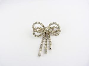 Vintage Art Deco Style Paste Clear Crystal Rhinstone Bow Brooch