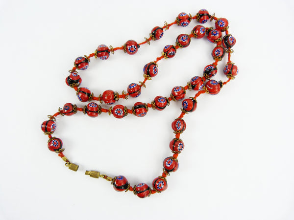 Vintage Art Deco Venetian Millefiori Red Glass Bead Necklace