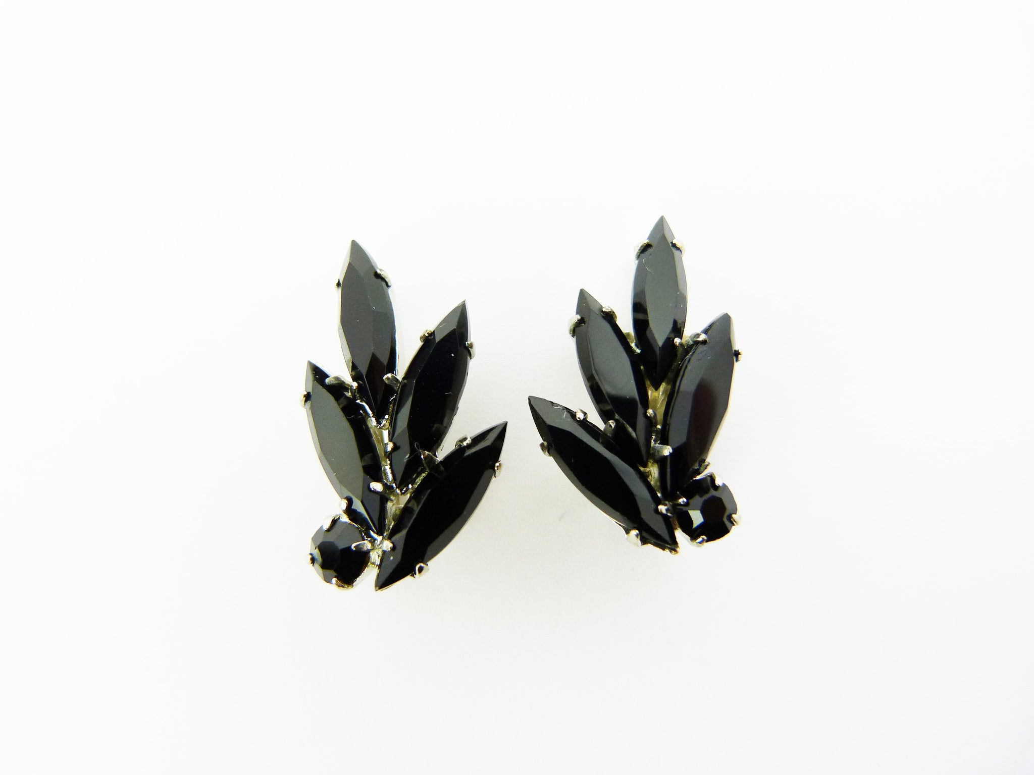 Vintage Black Navette Rhinestone Flower Clip on Earrings