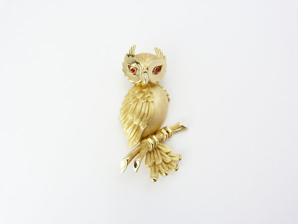 Vintage Crown Trifari Brushed Gold Owl Brooch - Gold & Rhinestone Owl Pin