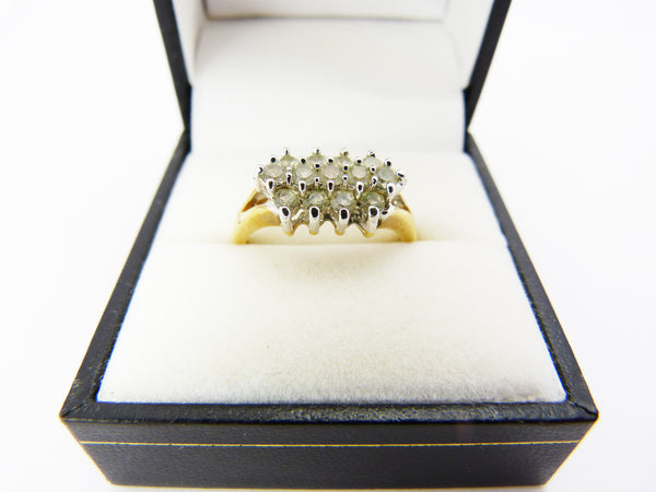 Vintage Crystal Rhinestone Faux Diamond Cocktail Ring Size P