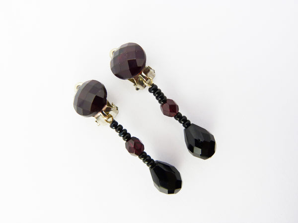 Vintage Dark Cherry Red Glass Bead Drop Clip On Earrings