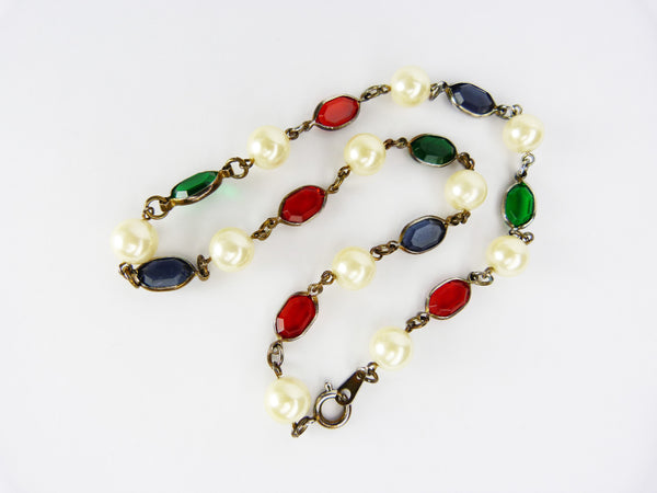 Vintage Faux Pearl Blue, Red & Green Glass Necklace - Gripoix Style Necklace - Coloured Glass Bead Necklace