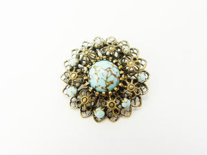 Art Deco Neiger Brass & Turquoise Glass Brooch