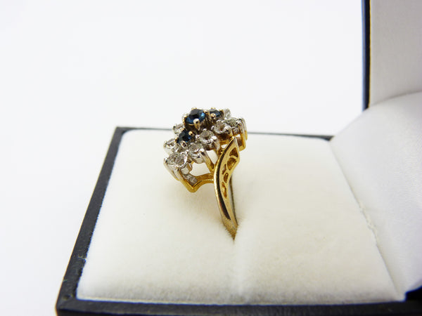 Vintage 18 KGP Gold Plated Blue & White Stone Cocktail Ring