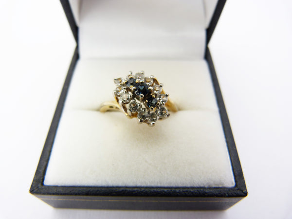 Vintage Gold Plated 18 KGP Blue & Clear Stone Cluster Engagement Ring Size N Half
