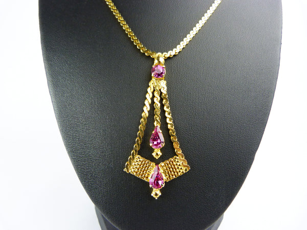 Vintage Gold Tone & Pink Glass Rhinestone Pendant Necklace - Pink Diamante Crystal Necklace