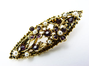 Vintage Gold Tone Purple Glass & Faux Pearl Leaf and Flower Brooch Signed Dorene