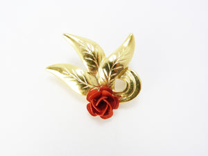 Vintage 1980's Gold Tone & Red Rose Flower Leaf Brooch