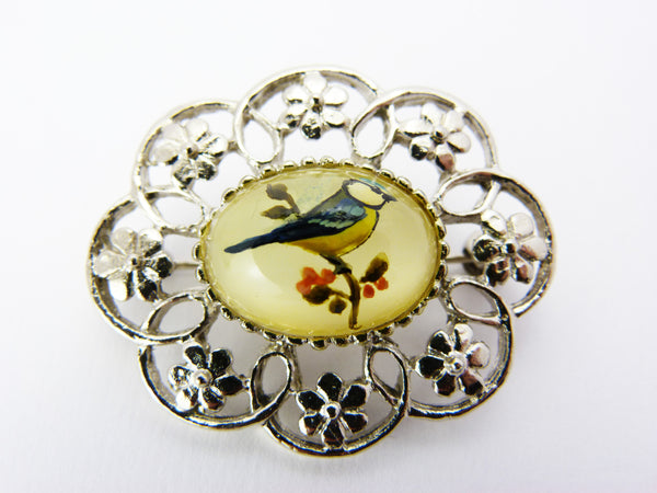 Vintage Hand Painted Glass Cabochon Blue Tit Brooch