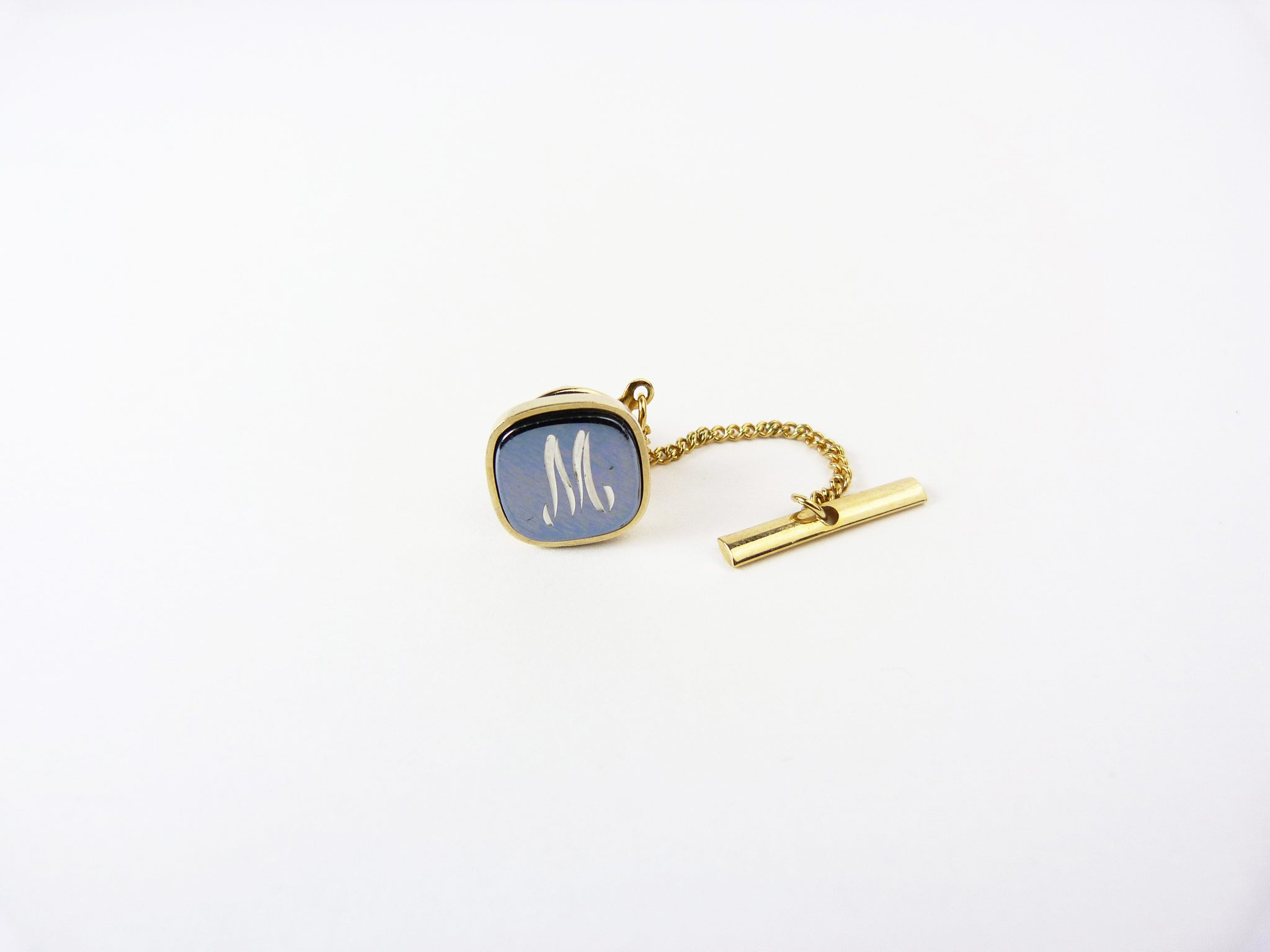 Vintage Hematite Tie Tack Letter Initial M Tie Pin Letter M