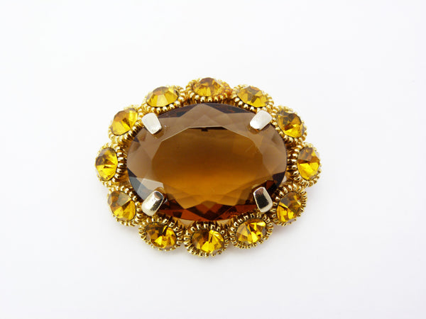Vintage Large Amber Smoky Quart Glass Brooch Signed Sphinx