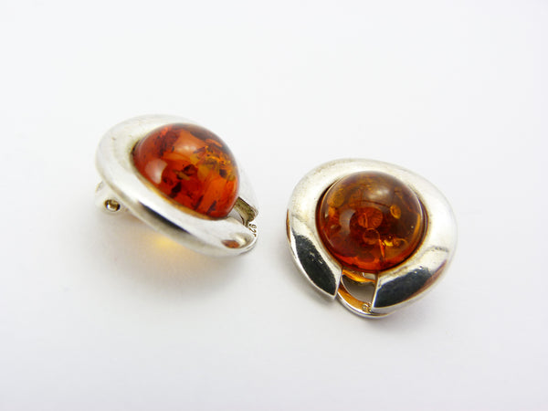 Vintage Modernist Sterling Silver & Amber Clip On Earrings - Minimalist Silver Baltic Amber Round Earrings