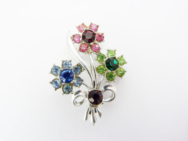 Vintage Multi Coloured Rhinestone Flower Spray Brooch