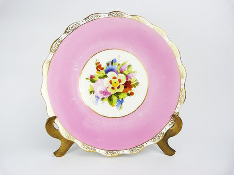 Vintage Pink & Gold Trim Flower Floral Bouquet Pattern Ceramic Plate - Shabby Chic Floral Design Plate