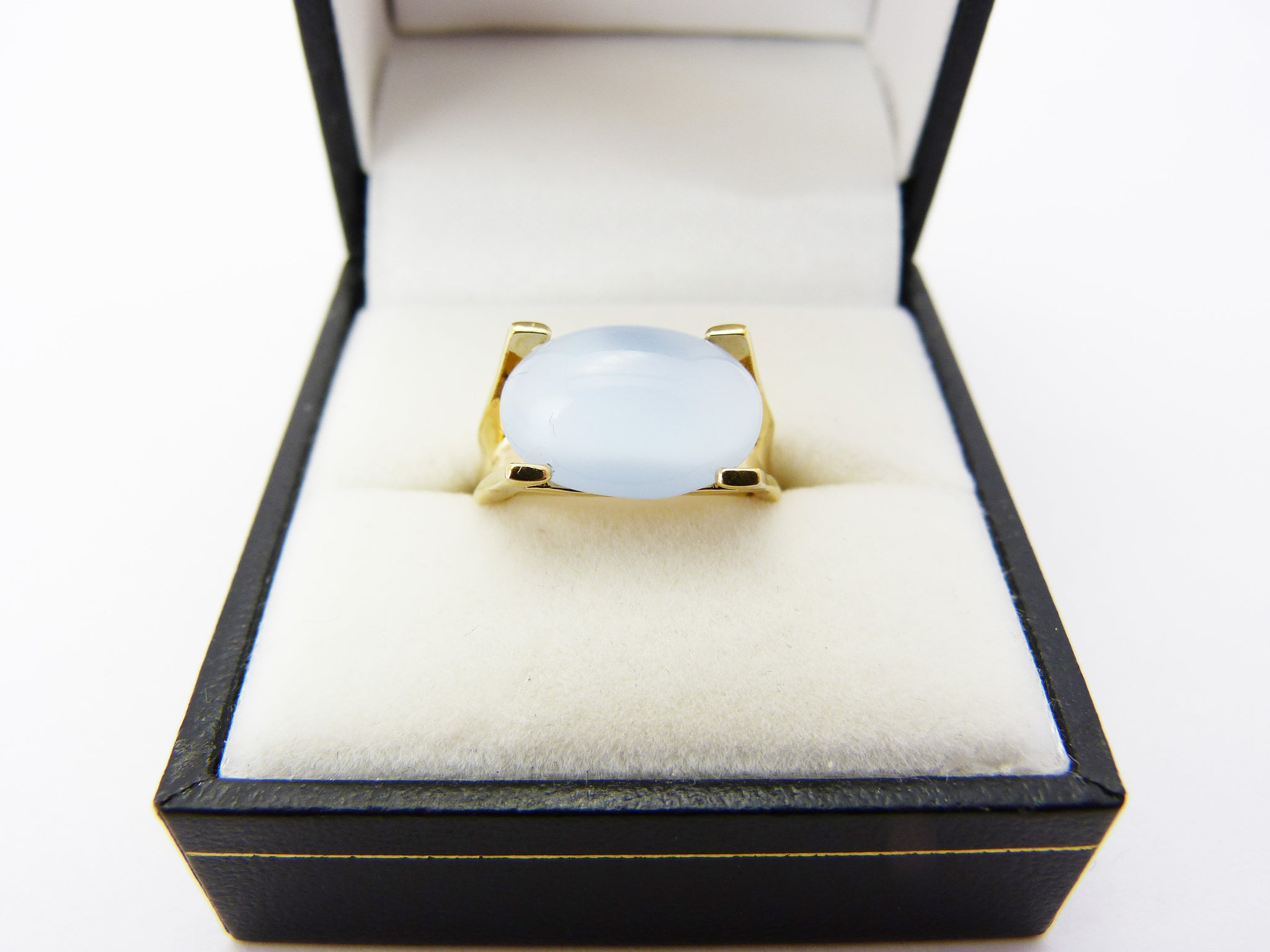 Vintage Sarah Coventry Gold Tone Pale Blue Art Glass Adjustable Ring