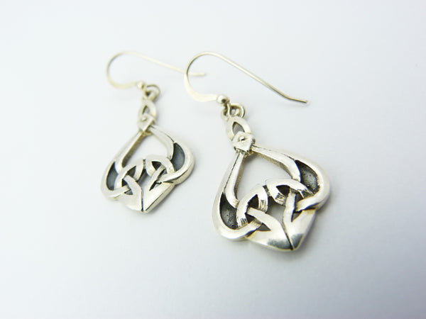 Vintage Silver 925 Celtic Scottish Mackintosh Glasgow Rose Earrings