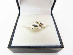 Vintage Silver 925 Dolphin Ring UK size P US 7.5