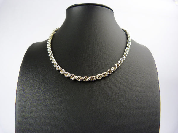 Vintage Silver Rope Chain Necklace