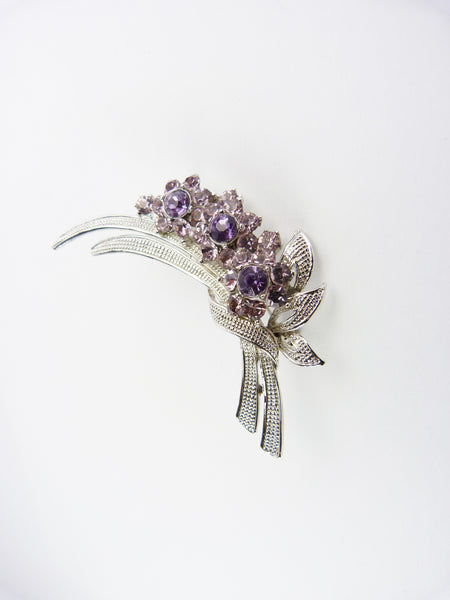 Vintage Silver & Purple Glass Rhinestone Flower Spray Brooch