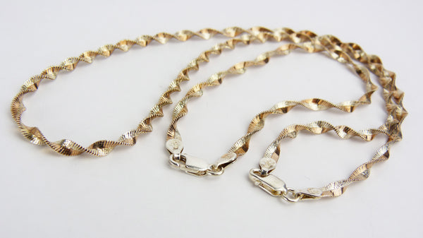 Vintage Silver & Rose Gold Plated Two Tone Twist Chain Necklace and Bracelet