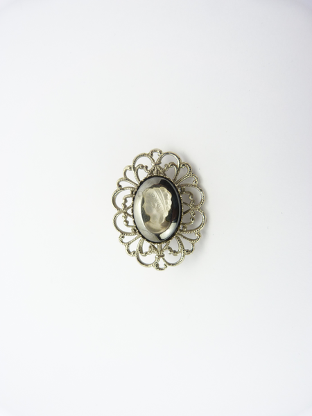 Vintage Silver Tone, Hematite Black Glass & White Clear Glass Cameo Brooch
