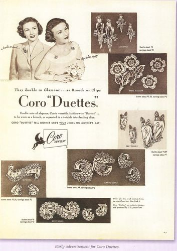 Vintage Art Deco Coro Duette Rhinestone Brooch & Dress Clips - Made In Canada 1935 - Pat 1852188